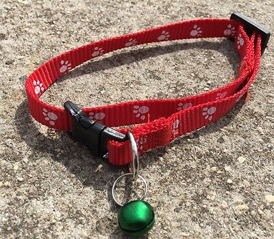 """PAW PRINT """"Ruby Red"""" Adjustable Cat Dog Pet Collar (30cm) with Bell *NEW*"""