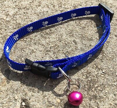 """PAW PRINT """"Sapphire Blue"""" Adjustable Cat Dog Pet Collar (30cm) with Bell *NEW*"""