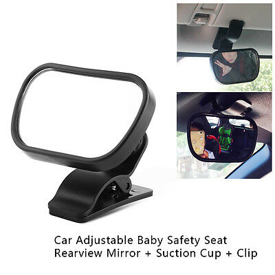 Adjustable Car Baby Back Seat Rear View Safety Mirror With Sucker Clip Black