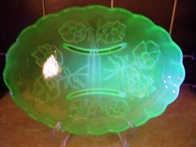BAGLEY FROSTED URANIUM GLASS LARGE OVAL BOWL WITH ANEMONE DESIGN C1940s