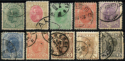 Romania 1893-1919 King Carol I x 10 Different Used Stamps #D50116