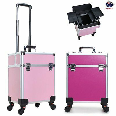 Professional Portable Cosmetic Beauty Case Makeup Case Box Trolley Bag Organiser
