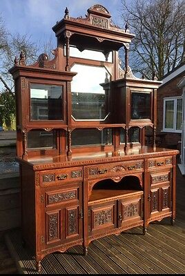 Impressive Large Victorian Walnut Mirror Backed Sideboard