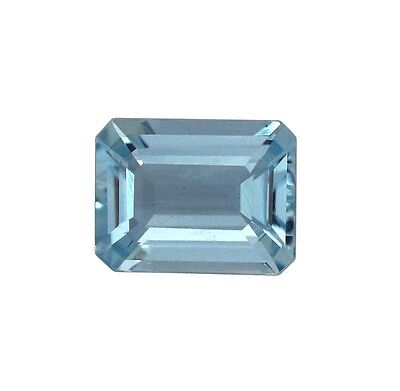 Natural Gemstone Certified Aquamarine Octagon Emerald Cut 8x6mm 1.31Cts