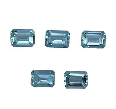 Natural Gemstone Wholesale Lot Certified Aquamarine Octagon Cut 7x5mm 4.12Cts