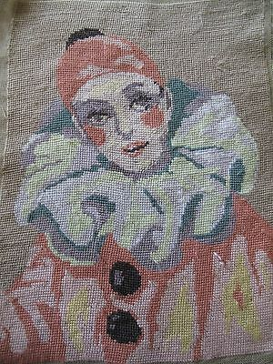 Vintage Completed Tapestry  PIERROT Large  Panel Picture
