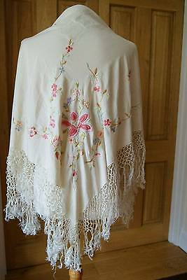Vintage Chinese Cream Silk Embroidered Shawl With Fringe