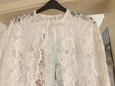 "1970`s Wedding Full length Beautiful White  Lace Coat Size 10/12 34"" chest"