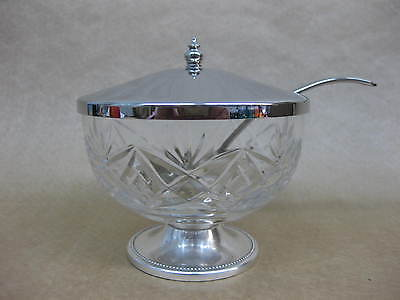 Crystal / Cut Glass Sugar Bowl With Silver Plated Spoon & Lid ~ James Walker