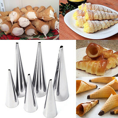 3Pcs Stainless Steel Spiral Tube Baked Croissants DIY Horn Baking Cake Molds UK