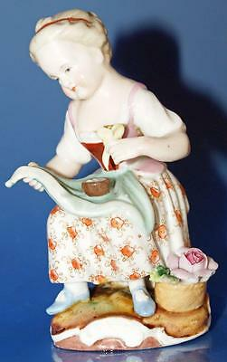 Antique Sitzendorf Porcelain Girl With Flower Figurine
