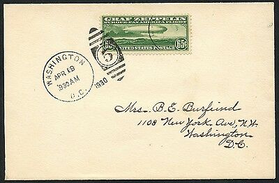 #c13 On First Day Cover April 19,1930 Washington, Dc Cv $1,000 Hw2853