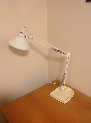 Vintage Retro White LUXO Planet Style Table Lamp Industrial Anglopoise Lights