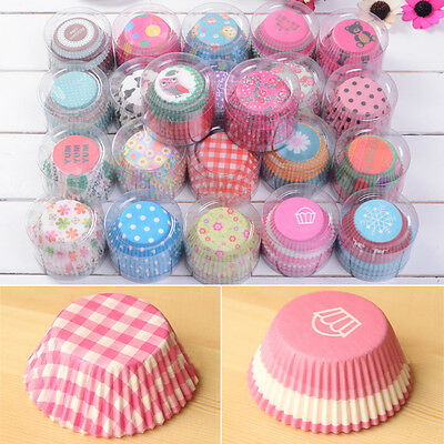 100pcs Greaseproof Paper Cake Cupcake Liner Case Wrapper Muffin Baking Cup UK