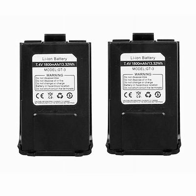2 x Baofeng 7.4V 1800mAh Li-ion Battery for GT-3 / Baofeng GT-3 2-way Radio UK