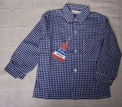 Vintage Boys Long Sleeve Shirt - Age 2 Years - Navy/White Check Cotton/Poly- New