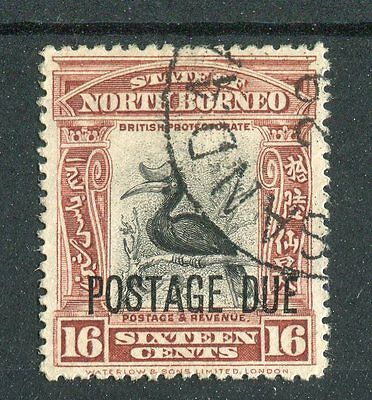 North Borneo KGV 1930-38 postage due 16c black & red-brown ? SG.D75a used