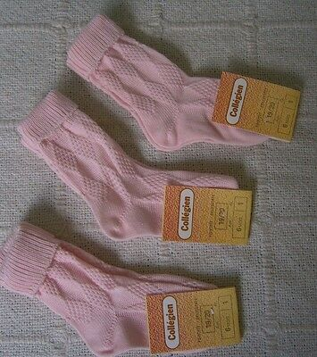 3 Pairs Vintage Quality Sox - Age 6 months Approx -  Pink - Cotton Mix - New