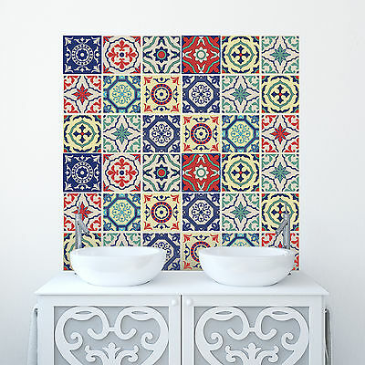 Traditional Tile Stickers Transfers Kitchen Bathroom Custom Sizes Made!100 x 100