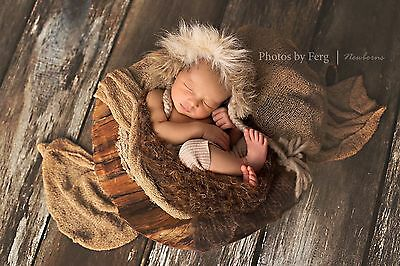 Newborn/Baby Crochet Fur Hoodie/Parka Eskimo Hat Photo Prop