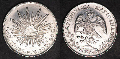 Mexico 1895 Fz 8 Reales Large Mexican Silver Coin