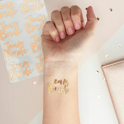 Rose Gold Team Bride Temporary Tattoos - TEAM BRIDE Hen Party Fun Pack of 16
