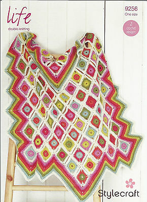 Sylecraft Life Double Knitting,easy Squares,throw Blanket Crochet Pattern 9256