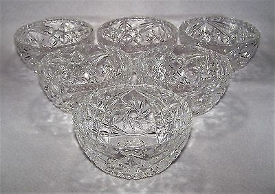 Set of 6, Vintage, Pressed Glass, Cut Glass Look, Dessert  Ice Cream Dishes