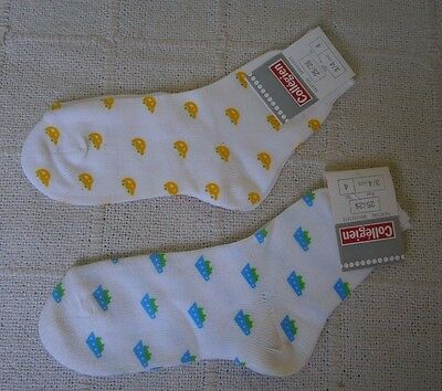 2 Pairs Vintage French Sox - Age 3-4 Years - Blue & Yellow Patterns - New