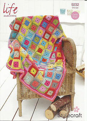 Sylecraft Life Double Knitting,easy Patchwork,throw Blanket Crochet Pattern 9232