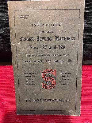 NICE!!! 1921 Instructions #8792 for Singer Sewing Machine No 127 & 128 Treadle