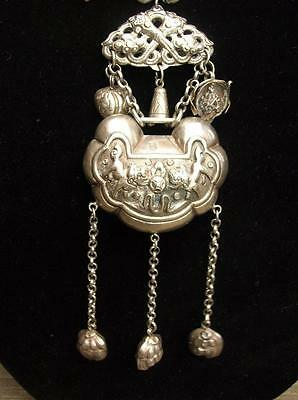Antique Chinese Repousse Silver Lock Necklace Purple Branch Coral Foo Dogs