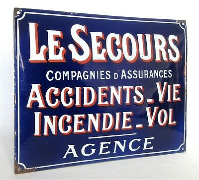 Rare Large Vintage French Enamel Sign Plaque for Insurance Company Circa 1920-30