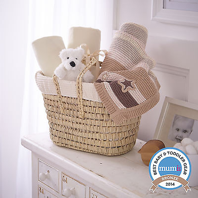 New Clair De Lune Cream Waffle Moses Basket Gift Basket - Sheets Blanket & Teddy