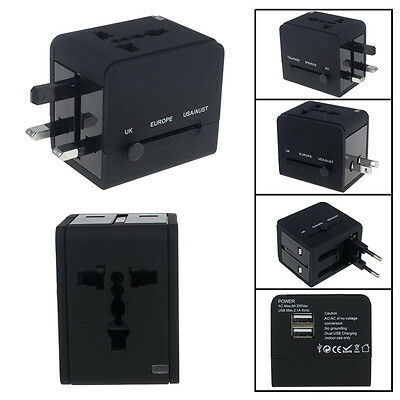 International World Wide Universal Travel Plug Multi Charger Adapter 2 USB PORT