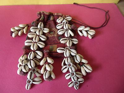 Vintage Indian Embroidered Draw String Purse Applied With Shells