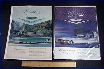Two 1960 Cadillac & Jewelry Ads Van Cleef & Arpels And Cartier