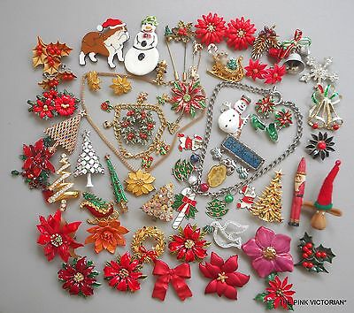 50++pc VINTAGE HOLIDAY CHRISTMAS CELEBRATION jewelry LOT Pins, Brooches, EARRING