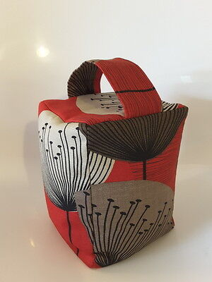 Fabric Door stop in Sanderson Dandelion Clocks Red Unfilled