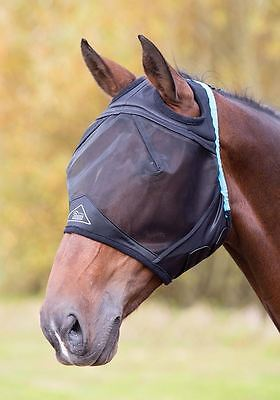 Shires Fine Mesh Fly Mask With Ear Holes Black