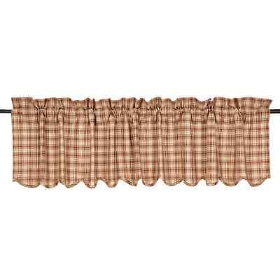 New Primitive Country Rustic Cabin BROWN PLAID VALANCE Window Curtains