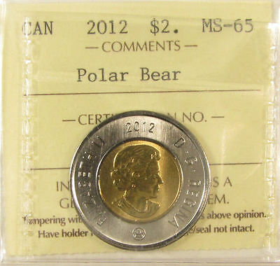 2012 Polar Bear $2 Canada coin. ICCS graded MS-65 (toonies)