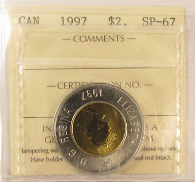 1997  $2 Canada coin. ICCS graded SP-67 (toonies)