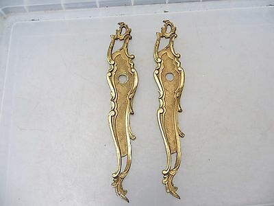 Vintage French Door Knob Handle Backing Plates Lever Gilt Leaf Rococo Baroque