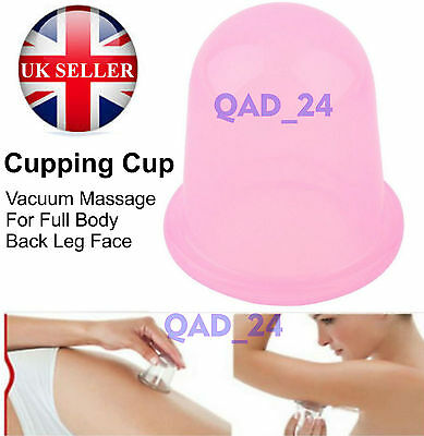 Cupping CUP Therapy Silicone Massage Vacuum Body and Facial Cellulite Suction UK