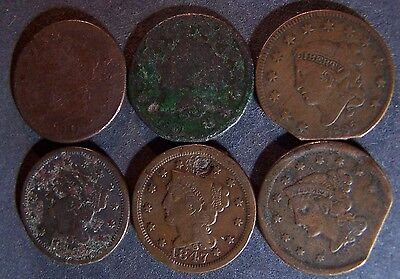 6 Large Cent 1810, 31, 35, 46, 47, 55 Fast Free Shipping