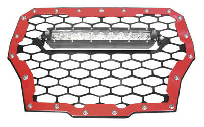 Modquad UTV Front Grill With 10 Inch LED Light Bar For Polaris RZR-FGLS-T-RD