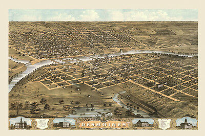 Des Moines Iowa Map 1800's Bird's Eye View Vintage Poster Reproduction FREE S/H