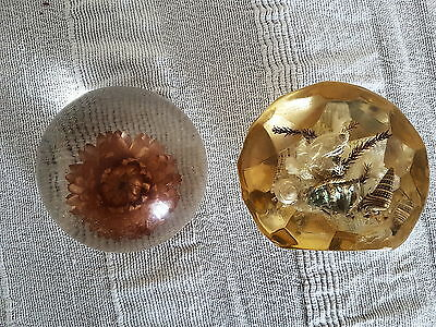 1970's Resin Fish And Flower Paperweight