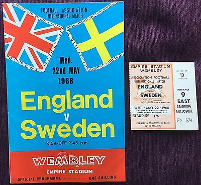 England V Sweden 1968 International Football Programme & Ticket From Collection